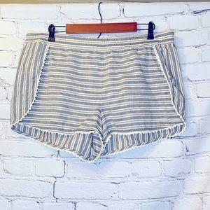 Madewell Navy Cream Elastic Waist Shorts Size XL